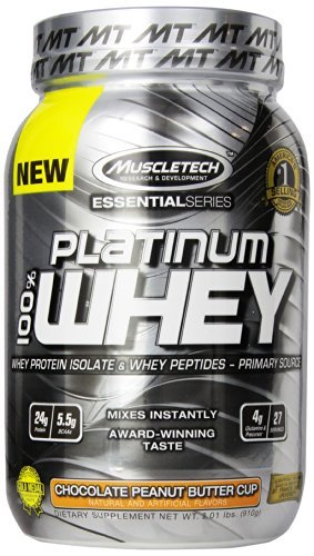 MuscleTech Platinum 100% Whey Protein Powder, Chocolate Peanut Butter Cup, 2.01 lbs (910g) by MuscleTech
