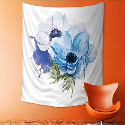 Auraisehome Tapestry Wall Hanging 3D Printing Belle Image ielle avec de Belles anémones Aquarelle Fleurs Beach Throw Blanket 60W x 91L ()