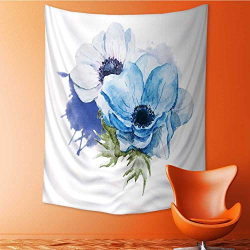 Auraisehome Tapestry Wall Hanging 3D Printing Belle Image ielle avec de Belles anémones Aquarelle Fleurs Beach Throw Blanket 60W x 91L INCH ()