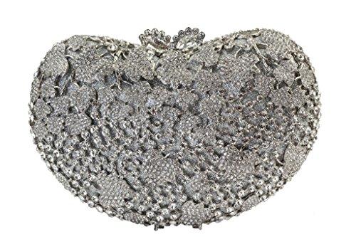 Yilongsheng Las mujeres en forma de corazón brillantes de noche bolsos del partido plata