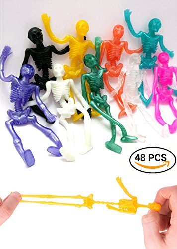 Upbrands Stretchy Skeleton 48 Pack 4 Inches Bulk Set 9 Glitter Colors  Kit For Birthdays  Halloween Party Favors For Kids  Goodie Bags  Easter Egg Basket  Pinata Filler  Small Toys Classroom Prizes