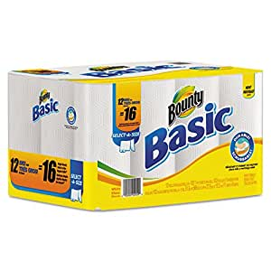 Basic Select-a-Size Paper Towels, 11 x 11, White, 48 Sheets/Roll, 12 Rolls/Pack