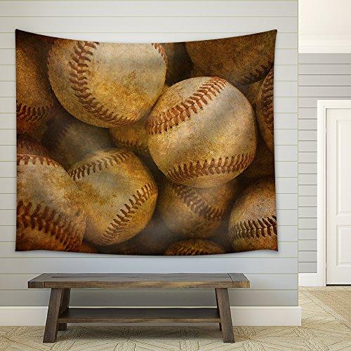 Aged Vintage Baseball Background Fabric Wall