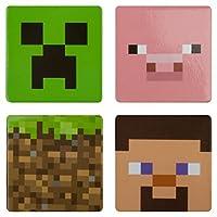 """Juego coleccionable de 4 botones JINX Minecraft (Creeper, Pig, Dirt Block, Steve) para los fanáticos de los videojuegos (1.5 """"Cuadrado)"""