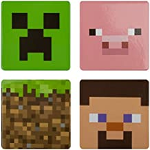 "JINX Minecraft Collectible 4-Button Set (Creeper, Pig, Dirt Block, Steve) for Video Game fans (1.5"" Square)"