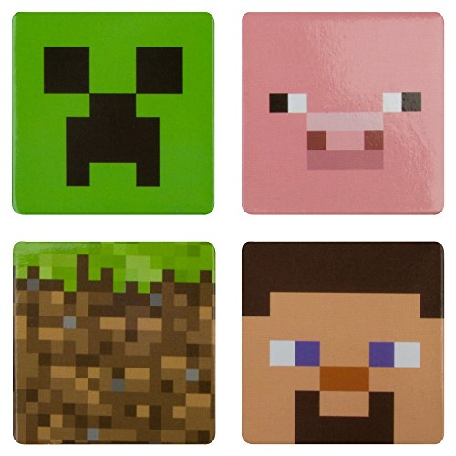 JINX Minecraft Collectible 4-Button Set (Creeper, Pig, Dirt Block, Steve) for Video Game fans (1.5
