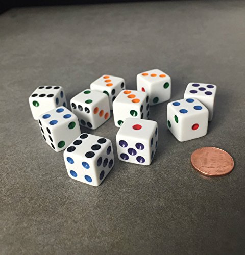 - Set of 10 Six Sided D6 16mm Standard Dice White with Multi-Color Pips by JUSTMIKE'S?