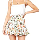 Womens Pleated Dress Casual Retro High Waist Lace-Up Print Evening Party Short Skirt A-Line Mini Skirts (S, Red)