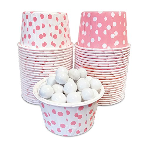 Candy Nut Mini Baking Paper Treat Cups - Pink and White Dot - 2 x 1.5 Inches - 48 -