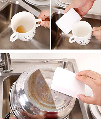 (MaxFox 25Pcs White Magic Sponge Eraser Brush Dish Cleaning Melamine Foam Cleaner Pad Super Decontamination Wipe Pot Kitchen Tools (White))