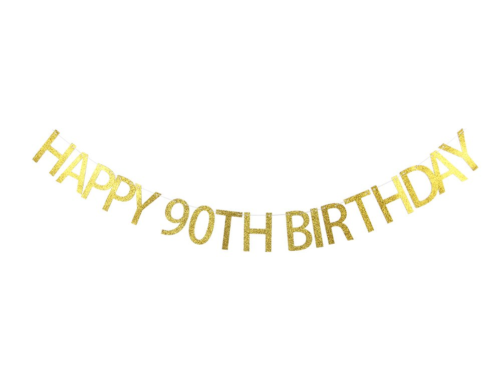 Lovely BITON Gold Happy 90th Birthday Banner Decoration Kit Themed Party Banner for Birthday Wedding Showers Photo Props Window Decor