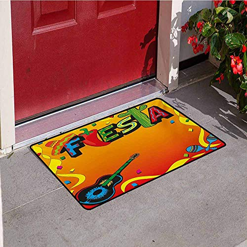 Jinguizi Fiesta Inlet Outdoor Door mat Latino Pattern with Swirled Stripe Frame with Musical Instruments Confetti Design Catch dust Snow and mud W23.6 x L35.4 Inch Multicolor