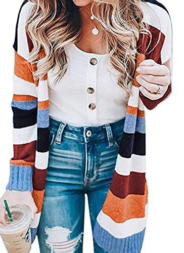 KIRUNDO Women's Open Front Long Cardigan Strip Color Block Long Sleeves Lightweight Knit Fall Outwear Sweater Coats (Small, Stripe-Orange)