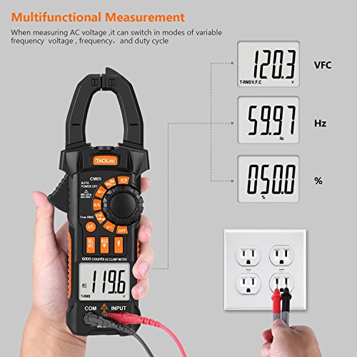 Clamp Meter, Tacklife CM05 Clamp Multimeters, 6000 Counts,AC/DC Voltage Tester, AC Current Detector, AC Signal Frequency, VFC, NCV, Resistor, Capacitor, Diode, Duty Cycle, Continuity Tester by TACKLIFE (Image #3)