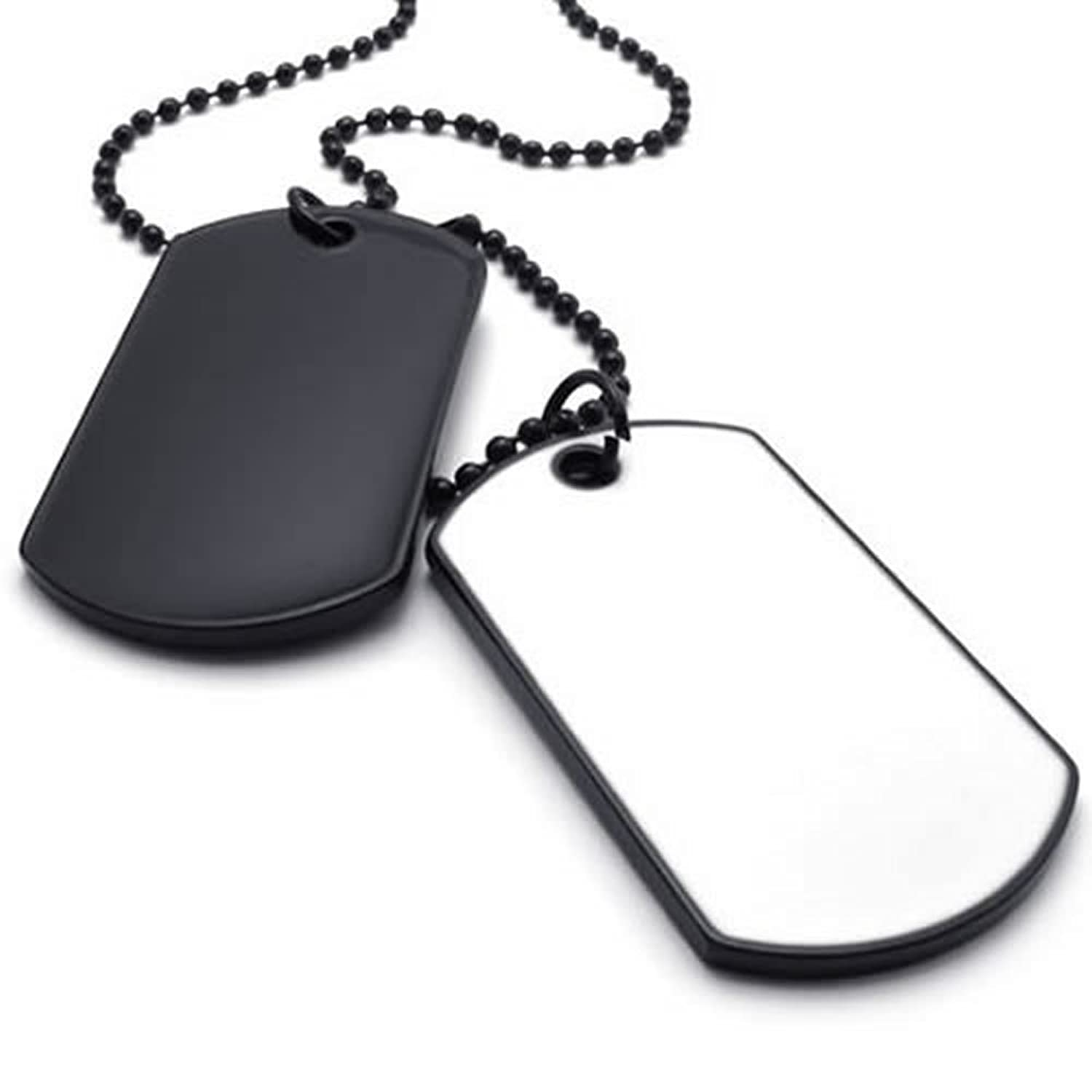 necklace tag dp chain style white mens black konov army amazon dog com pendant