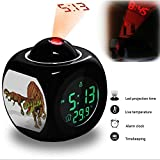 Projection Alarm Clock Wake Up Bedroom with Data and Temperature Display Talking Function, LED Wall / Ceiling Projection, Dinosaur-089.18_Afrovenator abakensis dinosaur