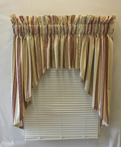 Kimberly Stripe Collection (Burgandy, 100Wx38L Lined 3 Pc Swag/ Valance Set) (Swag Cambridge)