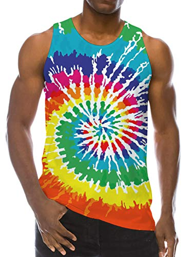Men Juniors 3D Printed Cool Youth Tye Dye Colorful Graphic Tanks Tops Fashion Short Sleeve Crew Neck 2019 Party T Shirt Top XL