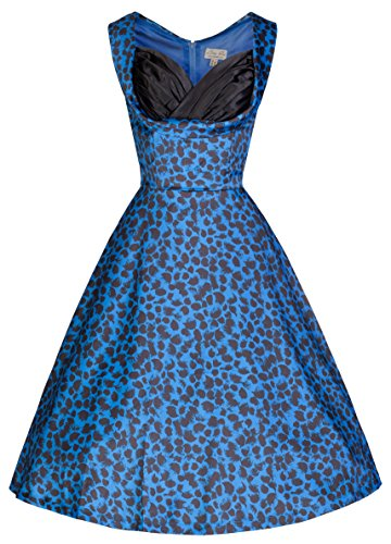 Lindy-Bop-Ophelia-Vintage-50s-Electric-Blue-Print-Party-Swing-Dress