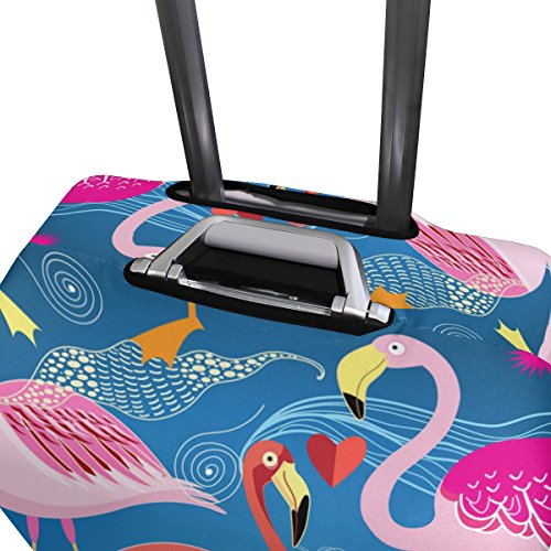 Hello Welcome Tropical Flamingo Floral Heart Love Valentines Suitcase Luggage Cover Protector for Travel Kids Men Women by ALAZA (Image #3)