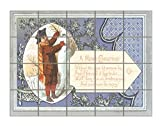 Without The Door Awishes Christmas Card Horizontal Tile Mural Satin Finish 16''Hx20''W 4 Inch Tile