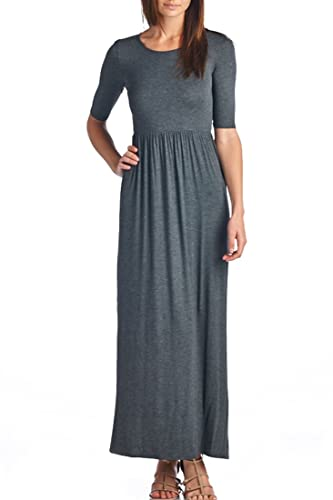 82 Days Women'S Rayon Span Jersey Maxi Long Dress with Elastic Waistband - Solid
