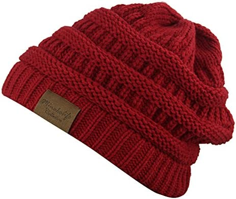 5cc969ed0 Soft Slouchy Hat Extra Long Cable Knit Beanie Cap (Darkred): Amazon ...