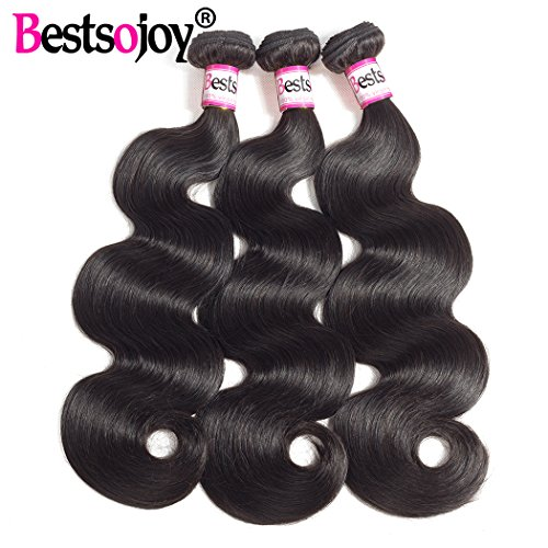 Bestsojoy Brazilian Virgin Hair Body Wave 3 Bundles Remy Human Hair Weaves 100% Unprocessed Hair Extensions Natural Color 8A (12 14 16)