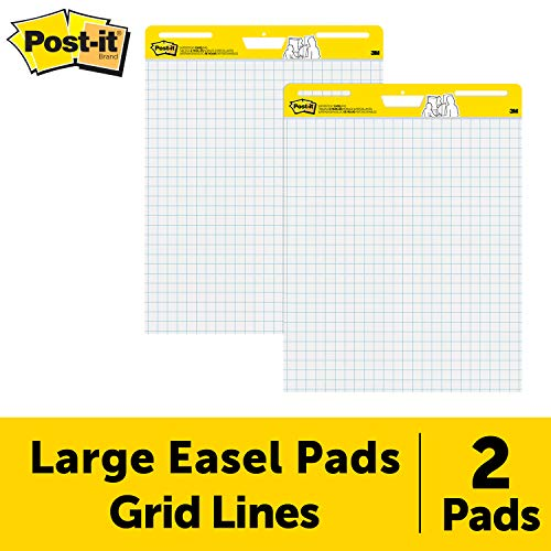 (Post-it Super Sticky Easel Pad, 25 x 30 Inches, 30 Sheets/Pad, 2 Pads (560), Large White Grid Premium Self Stick Flip Chart Paper, Super Sticking Power)