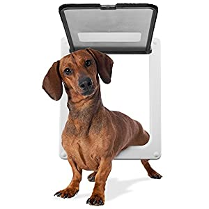 "Medium Breed Locking Pet Door - 11"" x 9"" Opening with Hard Plastic Flap by Weebo Pets"