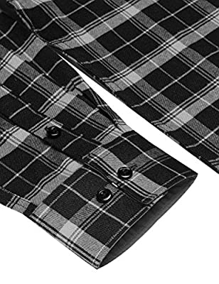 COOFANDY Men's Fashion Flannel Plaid Shirt Classic Button Down Check Shirts