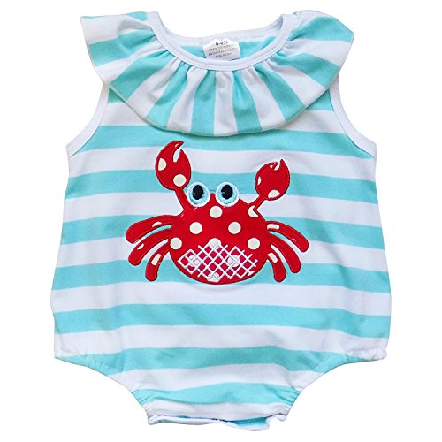 So Sydney Girls Toddler Baby Infant Summer Dress or Ruffle Baby Bubble Romper (XL (18-24 Months), Crabby Baby Stripe Romper) -