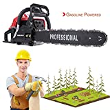 IOOkME-H 20″ 45CC Gas Chainsaw Single Cylinder Automatic Gas Powered Chain Saw Professional Great Handbar Electric Chain Saws (Black-red)