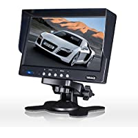 HD Car Monitor, Auto Rover 7inch TFT LCD Color Monitor For Car Rearview Camera/Car DVD/Serveillance Camera, With Remote and Stand 4pins Aviation Connector
