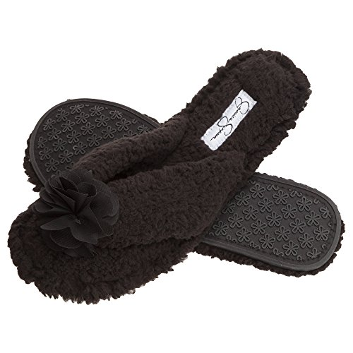 Jessica Simpson Plush Cozy Faux Shearling Thong Slide On Womens Slippers Flowers (Size Large, Black) by Jessica Simpson