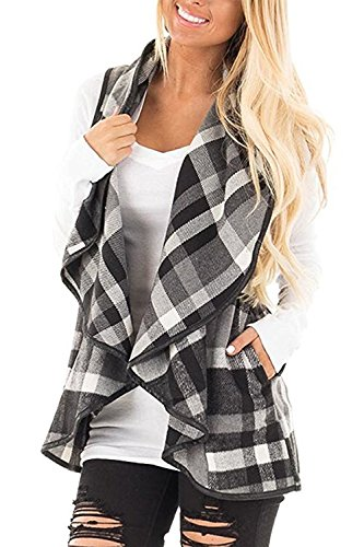 Chicgal Womens Lapel Open Front Sleeveless Plaid Vest Cardigan With Pockets (Grey L)