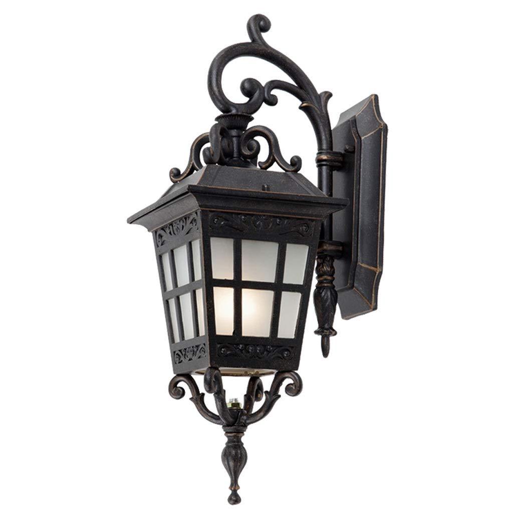 NJ Wandlampe- Outdoor-Wandleuchte Im Freien wasserdichte Balkon Licht Garten Villa Lampe Korridor Gang Wandleuchte (Farbe   SCHWARZ-21x45cm)