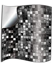 24x Autocollant en tuile pour Salle de Bain et Cuisine 15x15 cm Noir blanc mosaïque Autocollants adhésifs du film 2D pour les tuiles pour Les Carreaux de Murs Décor Gorreto