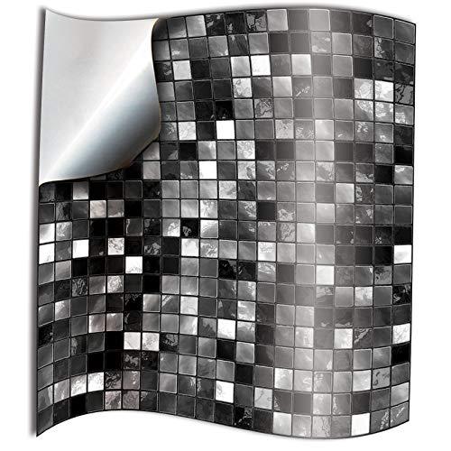 24x Negro blanco Lamina impresa 2d PEGATINAS lisas para pegar sobre azulejos cuadrados de 15cm en cocina, banos – resistentes al agua y aceite