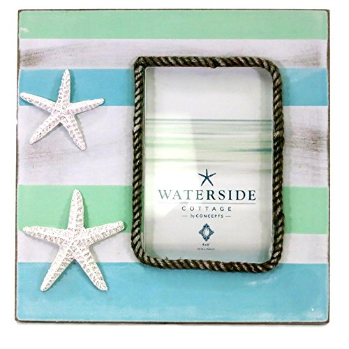 - Concepts in Time Photo Picture Frame Wood Starfish Rope Nautical Blue White 4 by 6