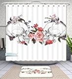 Unique Custom Bathroom 2-Piece Set Gothic Decor Collection Roses And Skull Feast Of All Saints Catholic Tradition Illustration Art Print Co Shower Curtains And Bath Mats Set, 66''Wx72''H & 23''Wx16''H