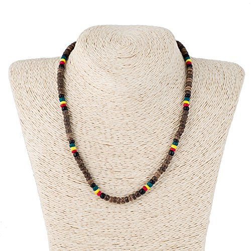 """18"""" - 5mm Rasta Coconut Wood Beads Necklace (Brown)"""