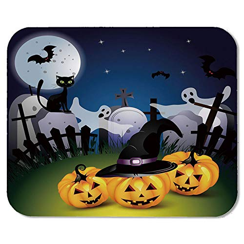 Halloween Custom Mouse Pad,Funny Cartoon Design with Pumpkins Witches Hat Ghosts Graveyard Full Moon Cat Decorative for Electronic Games Office,7.87''Wx9.45''Lx0.08''H]()