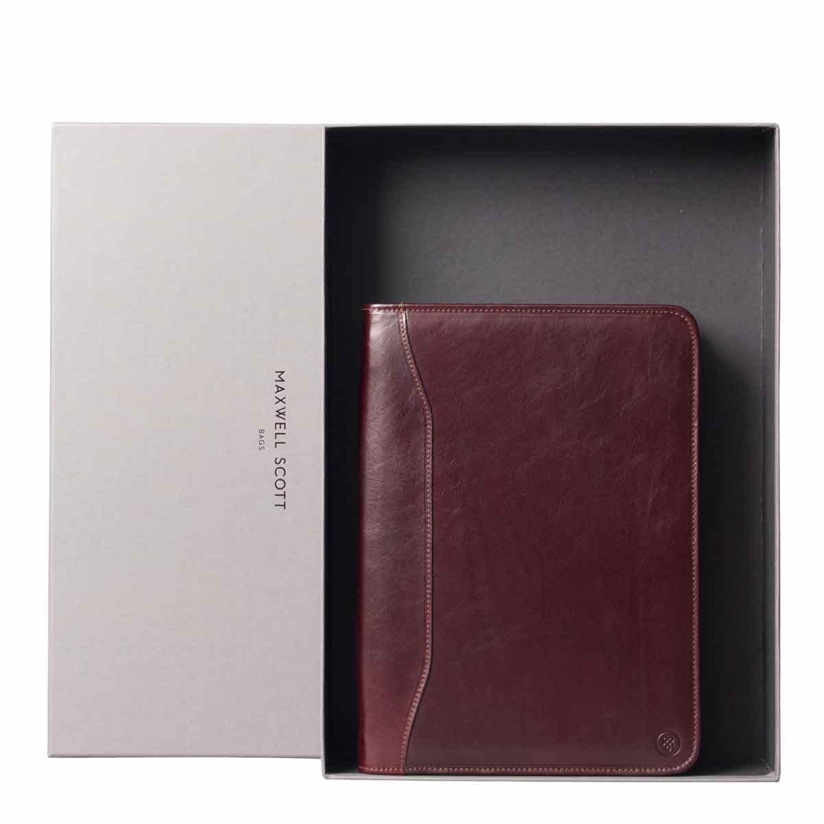 Maxwell Scott Luxury Italian Zipped Mock Croc Leather Document Folder - Black
