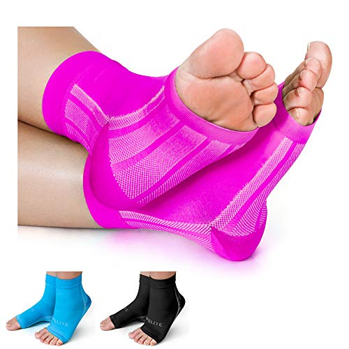Plantar Fasciitis Compression Socks/Ankle Brace by 1st Elite-Pain Relief in Heels Foot Arch Achilles Tendon Support Night Splint Foot Sleeve for Women Men, Pink, Medium