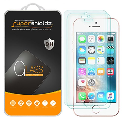 Supershieldz (2 Pack) for iPhone SE, iPhone 5, iPhone 5S, iPhone 5C Tempered Glass Screen Protector Anti Scratch, Bubble Free (Best Tempered Glass Screen Protector Iphone 5)