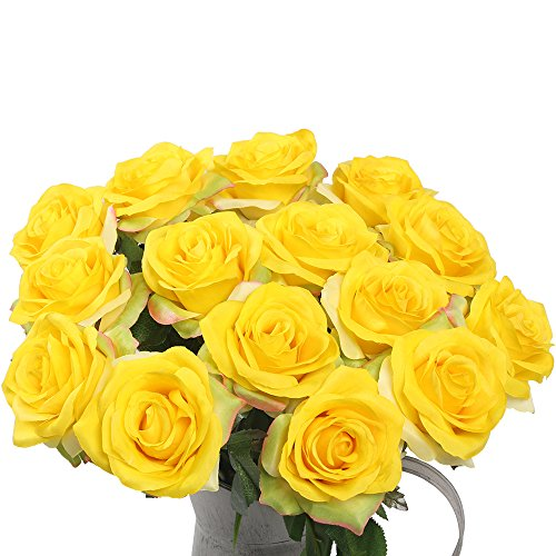 Artificial Flowers AmyHomie Silk Roses Bouquet Home Wedding Decoration Pack of 15 (15, Yellow)