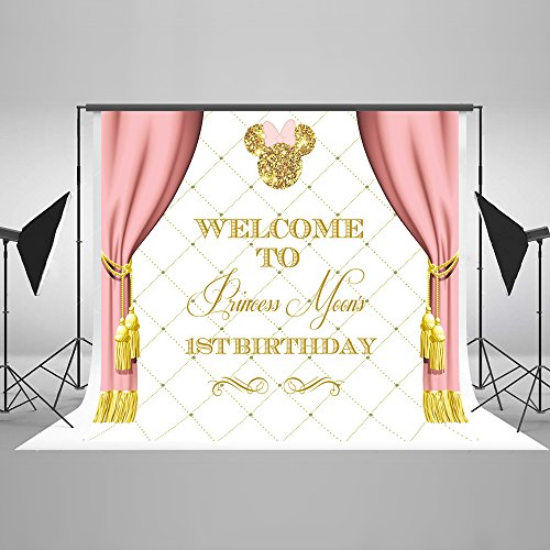 Photography Backdrop Birthday Banners Gold Background Backdrop Mickey Mouse 5x7ft Pink Curtain Custom Name Birthday Backdrop for Baby]()