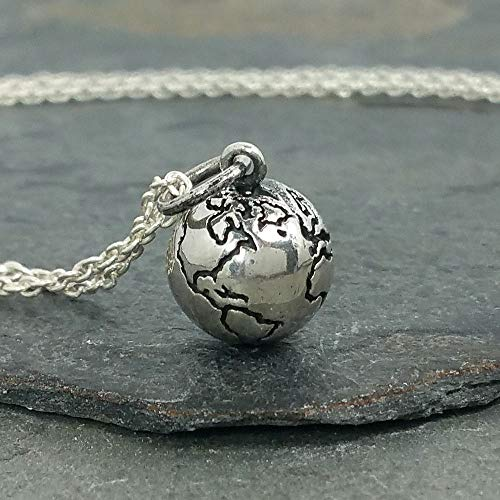 Tiny Earth World Globe 3D Necklace - 925 Sterling Silver