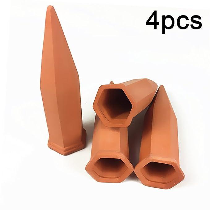 Picturer7 - Spray automático de 4 piezas, sistema de riego para plantas y jardines, con pinchos de cerámica, ideal para plantas de vacaciones.